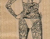 Tattoo lady Circus woman rubber stamp cling, unmounted or wood mounted  stamp number 4235