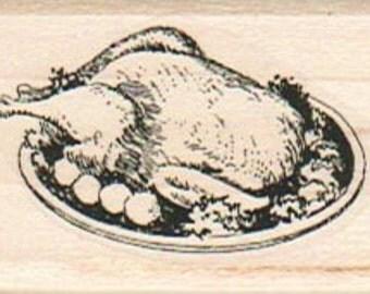 Thanksgiving  rubber  stamp  turkey stamping holiday roast chicken scrapbook supplies craft  14627