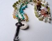 Bead Crochet Necklace--Mediterrean