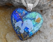 Flower Butterfly Pendant, Fused Glass Heart, Dichroic Fused Glass Heart Pendant, Valentine Heart Pendant, Purple and Green Heart Pendant