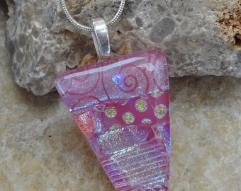 Pink Fused Glass Pendant, Dichroic Fused Glass Pendant, Pink Glass Necklace, Pink and Sassy Dichroic Pendant