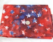 Red and Blue Star Batik Cotton Fabric - Destash