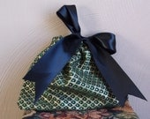 Gift Bag Green Gold with Black Satin Ribbon