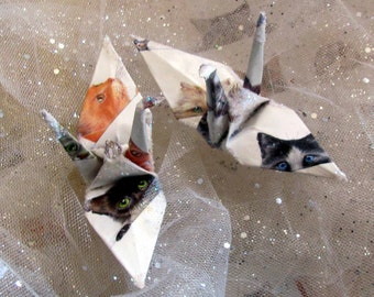 Calvacade of Cats Peace Crane Bird Wedding Cake Topper Party Favor Origami Christmas Ornament Eco Friendly Decoration Japanese Bird White