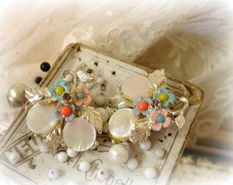 vintage floral earrings . clip on earrings mother of pearl with multi pastel enamel flowers light gold setting