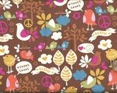 Tweet Tweet Peace - Birds, Trees & Peace Signs on Brown Snuggle Flannel Fabric - 7/8 Yard