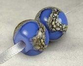Periwinkle Blue Lampwork Glass Beads, Lampwork Bead Pair,  Handmade Lampwork, Blue Glass Beads, 2 Glossy 14x11mm Cornflower