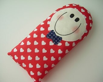 SOFTIE - HANDMADE gift - Pillow Baby - pillow Boy white hearts on red fabric - baby toy - toddler - next day ship