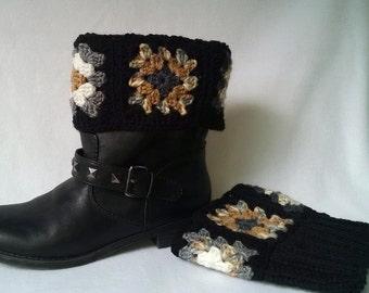 Black Granny square boot cuffs - crochet boot toppers, boot socks, mini leg warmers, crochet cuffs