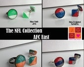 NFL Collection earrings and rings - AFC East Bills, Dolphins, Patriots, Jets