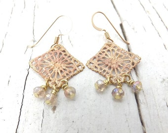 Pale Wheat Crystal Fringe Earrings - Blush Filigree and Crystals - 14 KT Gold Filled Earwires - 1 1/2 Inches Long - Lightweight