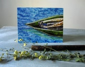 Drifting, illustrated blank card,  full moon, nature rustic, glossy finish