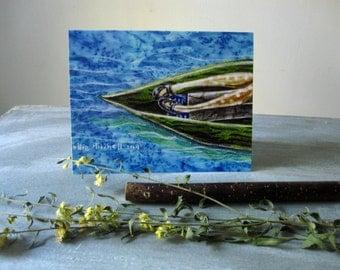 Drifting, illustrated blank card,  full moon, nature rustic, glossy finish