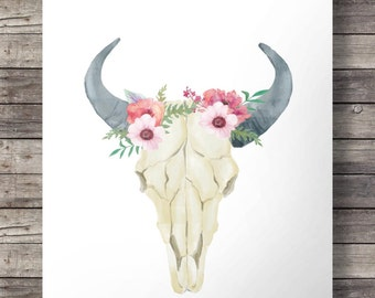 Printable art | Watercolor flowers Bull Cow Skull -  Printable southwestern watercolor skull wall art  - Instant download digital print
