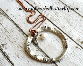 personalized necklace -personalized washer necklace-circle necklace-mommy necklace-hand stamped necklace-mothers necklace-personalized jewel