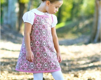 """Summertime Dreams reversible A-line sundress pdf sewing pattern sizes 12M to 10 plus 18"""" doll"""