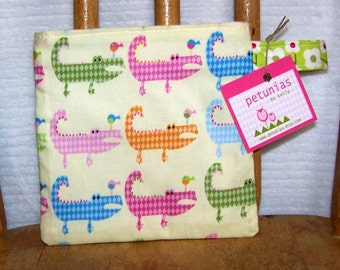 Reusable Little Snack Bag - pouch kids adults eco friendly alligators exclusive fabric by PETUNIAS
