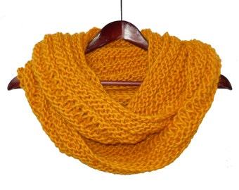 Bulky Yellow Infinity Loop Wool and Alpaca Scarf - Warm Hand Knit Moebius