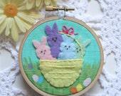 Embroidered Art Hoop - Basket of Bunny Peeps