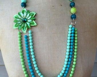 SALE Vintage Necklace, Enamel Flower Necklace, Statement Necklace - Green with envy
