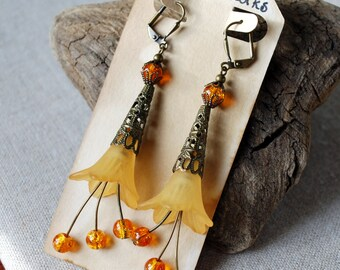 Vintage Styled Long Flower Earrings in Amber