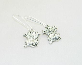 Antique silver happy cat charm dangle earrings, animal, pet, kitty cat
