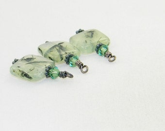 3 Handmade prehnite square gemstone beaded dangle drop charms,  hand wrapped beads, earrings