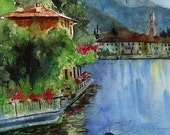 Lake Como Italy Art Print Travel from a Painting Wedding Honeymoon Gift Europe from a watercolor painting Big Large Huge or 8x10