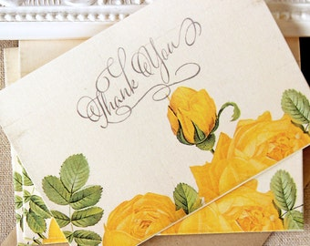 Yellow Rose Thank You Notes set of 5