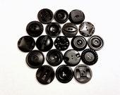 Vintage Button Lot - black buttons, vintage button destash lot, vintage sewing destash, sew through buttons, deco buttons, carved buttons