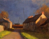 Evening Hour, landscape plein air oil painting 9x12in