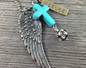 REFUGE Necklace - Turquoise Howlite Cross Rhinestones Wing Hand-stamped Brass Tag Ball Chain - Psalm 91 4