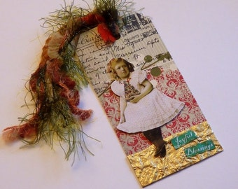 Collaged Shipping Tag - Altered Art - Vintage Christmas - FREE US SHIPPING