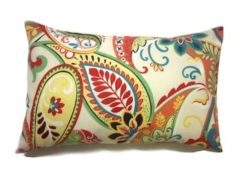 Decorative Pillow Cover Lumbar Multicolored Paisley Same Fabric Front/Back Red Orange Turquoise Navy Lime Green Yellow White 12x18 inch