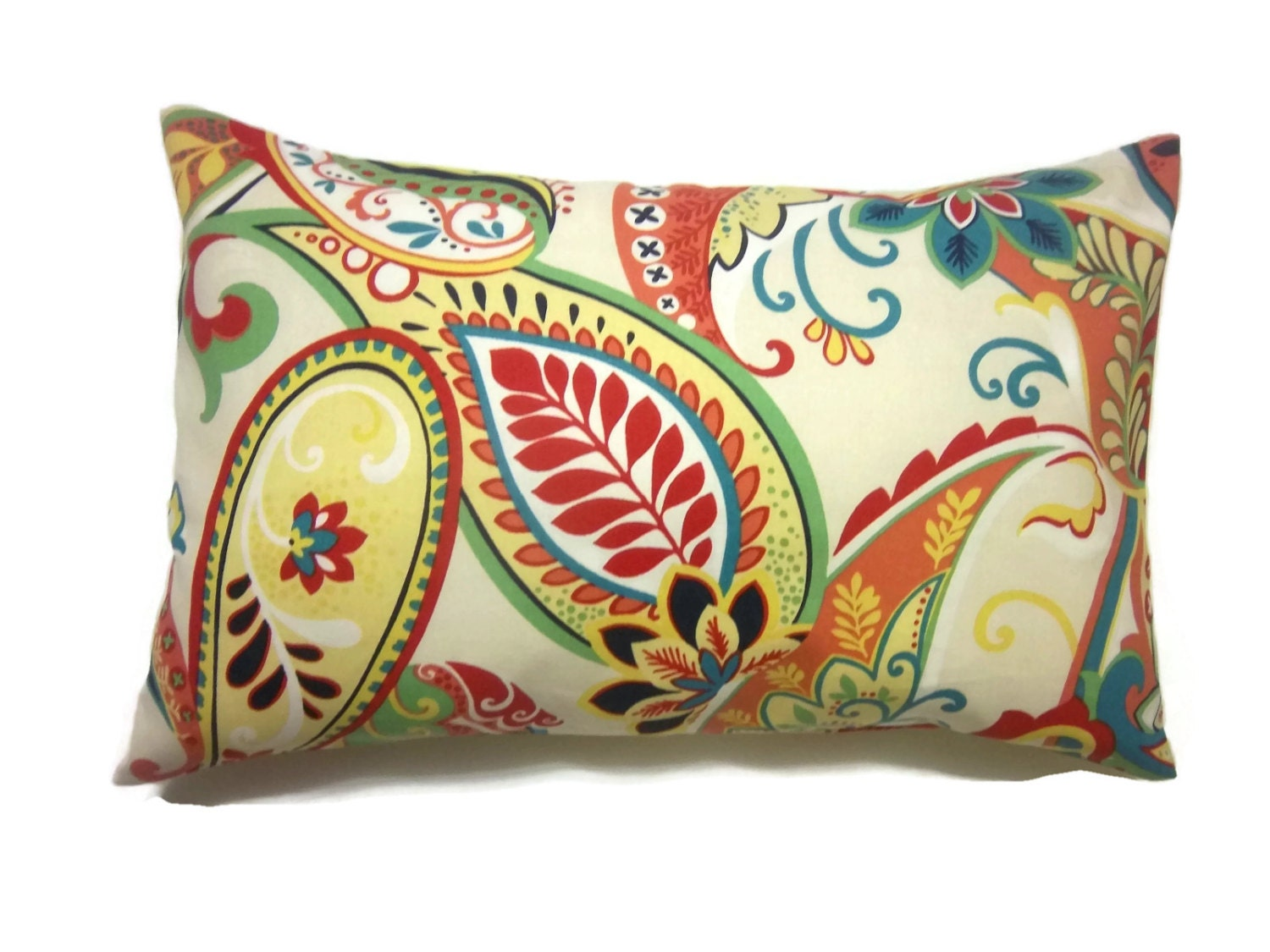 Decorative Pillow Cover Lumbar Multicolored Paisley Same