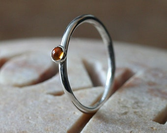 Citrine Stacking Ring 3 mm in Sterling Silver, Size 2 to 15.5, November Birthstone, Yellow Ring, Stacker Ring, Solitaire Ring, Womens Ring