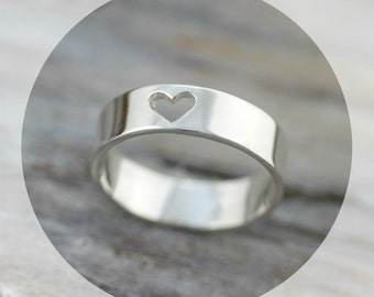 Heart cutout - 5mm recycled sterling silver band