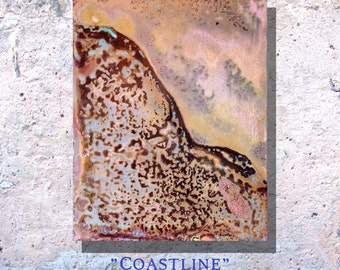 "Art Painting Copper Art Abstract Patina Painting ""Coastline"" 8 x 10"" Metal Wall Art"