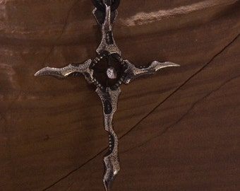 silver cross pendant- Death of the Serpent- sterling silver