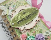 Design Your Life Inspirational Paper Bag Album Mini Scrapbook  Journal Shabby  OOAK