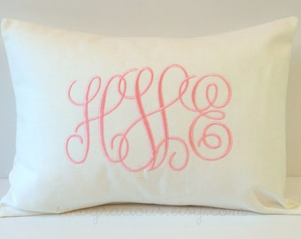 Monogram Pillow Cover made to fit a 12x16 Decorative Throw Pillow. Thin Intertwined Vine Font. Baby Pillow. Wedding Gift. Valentines Day
