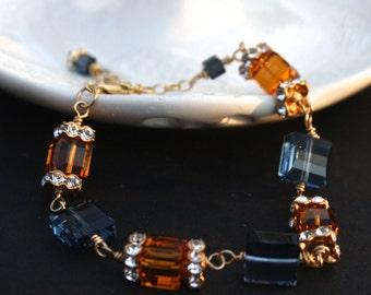 Swarovski Crystal Bracelet Wire Wrapped Topaz Blue Gold