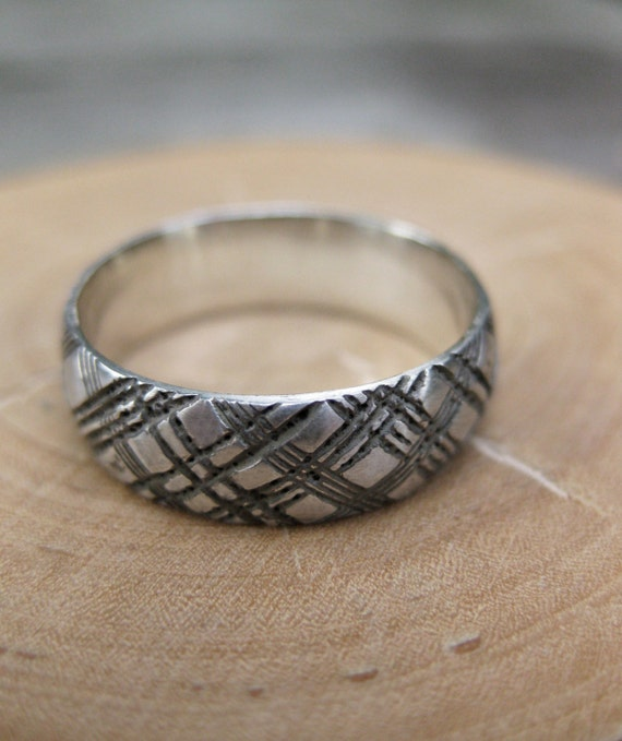 mens PLAID ring sterling silver wedding band size 8.75