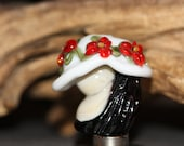 Lampwork Glass Focal Garden Hat Series Red Black White