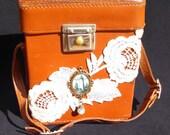 Vintage Steampunk Brown Leather Camera Case Purse Steam Punk