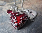 Red Heart Locket Necklace, Working Locket, Initial Jewelry, Enameled Red Heart Necklace, Secret Locket Necklace