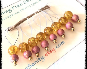 Snag Free Stitch Markers Large Set of 8-- Gold and Pink Glass - N79 -- For up to size US 17 (12.75mm) Knitting Needle