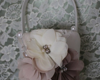 Cream and Taupe Satin Flower Girl Basket Cream,Taupe and Beige Flower Rhinestones and Pearls-Elegant