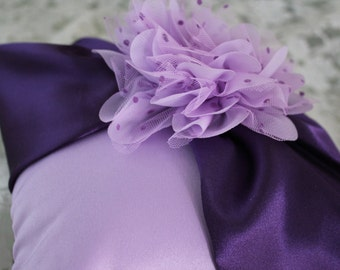 Lavender and Purple Ring Bearer Pillow  Lavender Organza Layered Flower with Purple Polka Dots