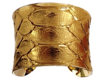 Gold Metallic Foil Finish Snakeskin Cuff Bracelet - by UNEARTHED